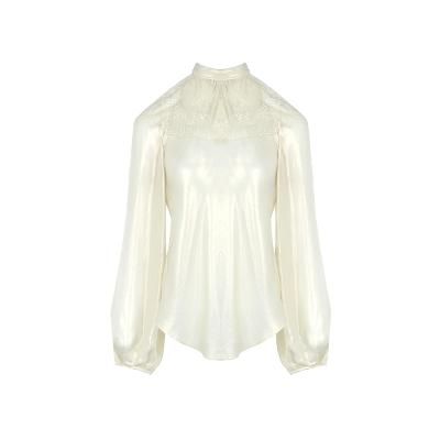 lace detail silky blouse ivory